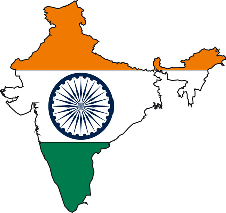 Illustration Vector of a Map and Flag from India Vector