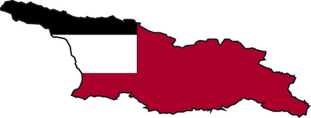 Illustration Vector of a Map and Flag from Georgia Vector