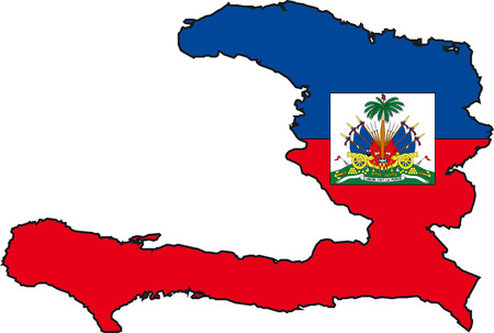Illustration Vector of a Map and Flag from Haiti