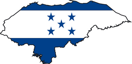 Illustration Vector of a Map and Flag from Honduras Vector