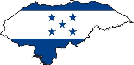 bandera de honduras: Ilustraci�n Vector de un Mapa y Bandera de Honduras Vectores
