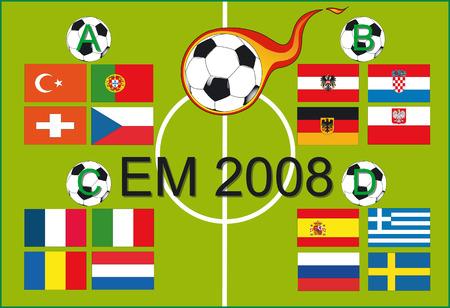 soccer wm: Campeonato europeo de f�tbol 2008 - Ilustraci�n Vector