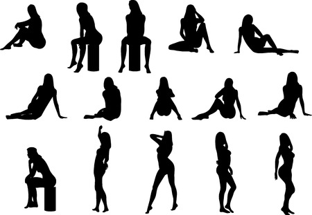 Illustration of sexy woman silhouettes Stock Vector - 2329994