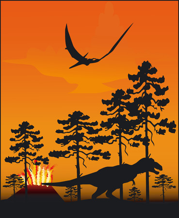 monstrous: Illustrazione con un dinosauro - Vector Format Vettoriali
