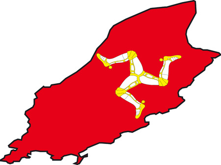 isle: Illustration Vector of a Map and Flag from Isle of Man