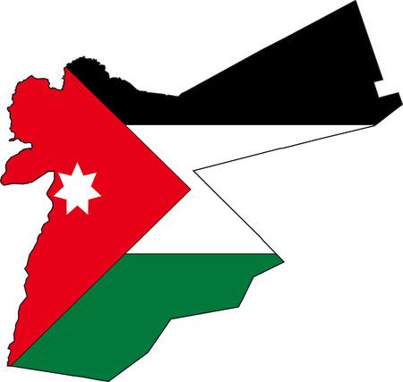 jordanian: Vector illustratie van een Kaart en Vlag van Jordanië Stock Illustratie