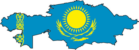 eastern europe: Illustration Vector of a Map and Flag from Kazakstan