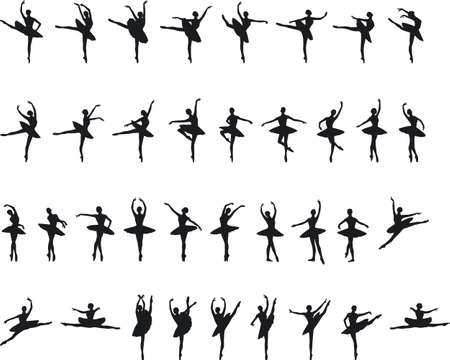 An Illustration of Ballet Silouettes - Vector