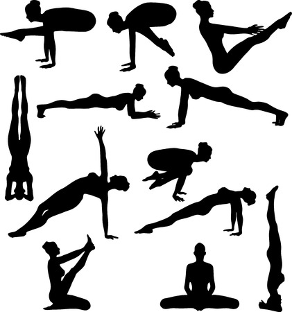 An Illustration of Sexy Yoga Silouettes - Vector