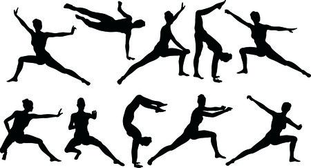 siluettes: Illustration of Martial Art Silouettes