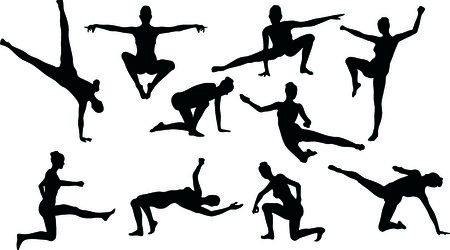 silouettes: Illustration of Martial Art Silouettes