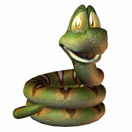 reptil: An Toonimal Snake - 3 D Render Stock Photo