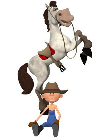 countryman: Cartoon farmer with horse