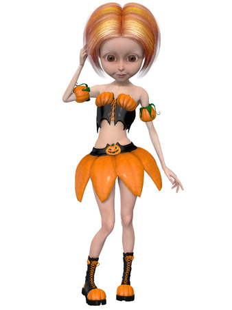 Beautiful toon pumpkin girl Stock Photo