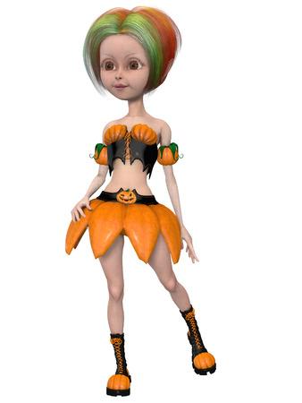 lunatic: Beautiful toon pumpkin girl Stock Photo