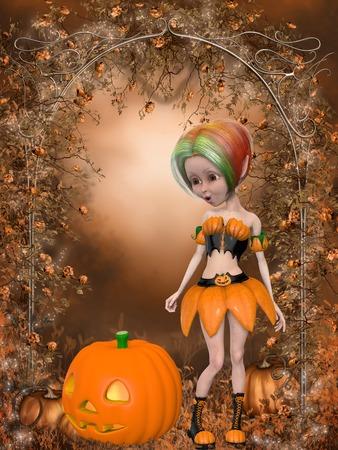 3d witch: Beautiful toon pumpkin girl Stock Photo