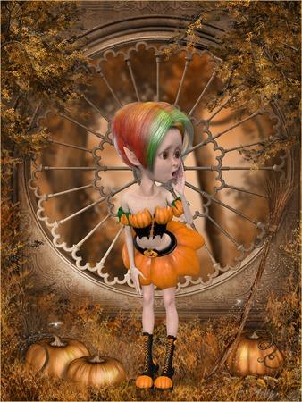Beautiful toon pumpkin girl photo