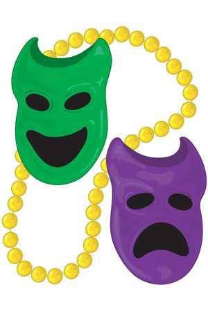 Dichotomy masks for mardi gras with gold bead