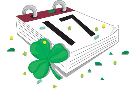 Illustration of a calendar turned to St. Patricks day Stock Photo