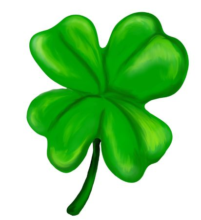 Illustration of an isolated painted four leaf clover Stock Illustration - 330018