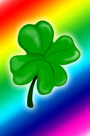 Illustration of a four leaf clover with a rainbow