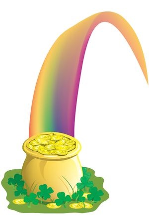 Illustration of a pot of gold with a rainbow and clover Stock Photo