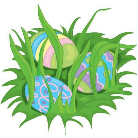 Illustration of easter eggs hiding in the grass Stock Illustration - 330003