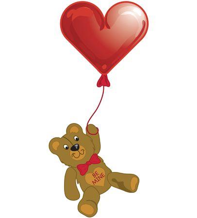 Illustration of a teddy bear holding a Valentine balloon. Stock Illustration - 329997
