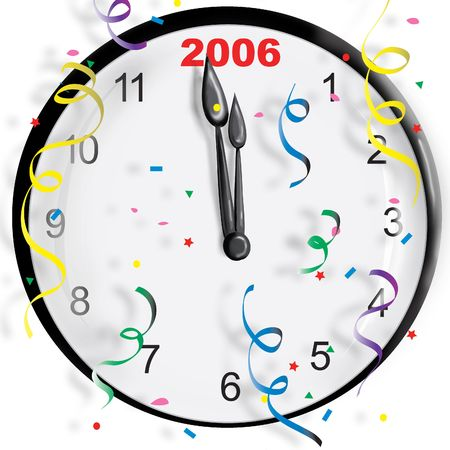 Clock with the new year and confetti Stock Photo