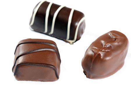 Closeup up of three dewey chocolates Stock Photo - 329968