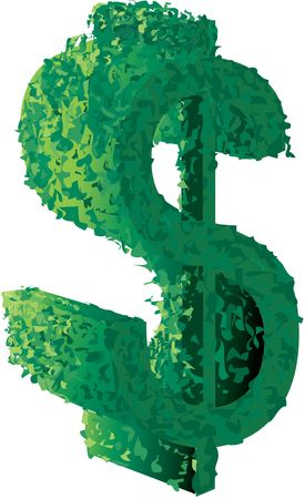 Topiary of a dollar sign Stock Photo