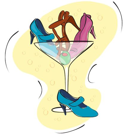 Illustration of a martini glass with shoes and an olive in it. Stock Photo