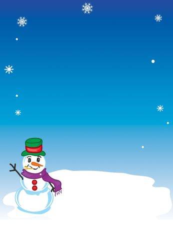 Winter snowman background with falling snowflakes