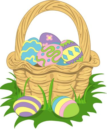 Colorful illustration of an easter basket filled with eggs. Stock Illustration - 349815