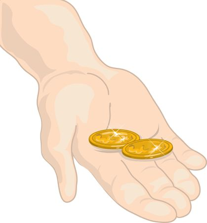 Illustration of a hand holding two cents
