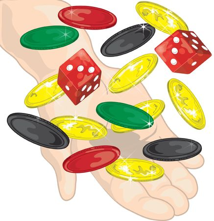 Hand throwing dice, money and chips in the air