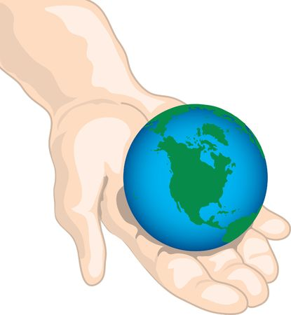 Illustration of a hand holding the world Stock Photo