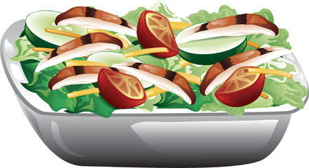 Illustration of a grilled chicken salad with tomatoes, cucumbers and cheese. Illustration