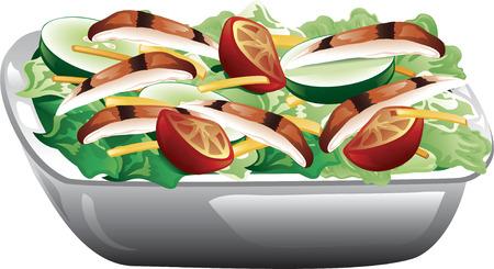cucumber salad: Ilustraci�n de una ensalada de pollo a la parrilla con tomates, pepinos y queso.