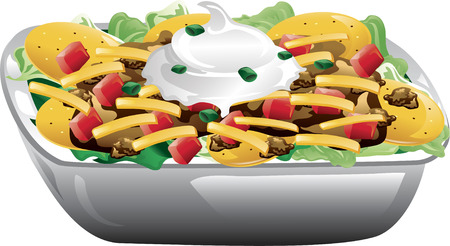 Illustration of a taco salad with beef, tomatoes, cheese, chips and sour cream. Illustration