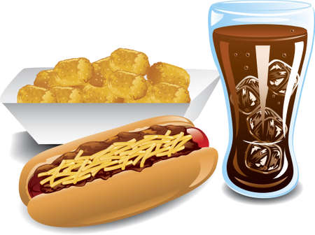 Illustration of a chili dog, cola and tater tot meal Stock Vector - 6829970