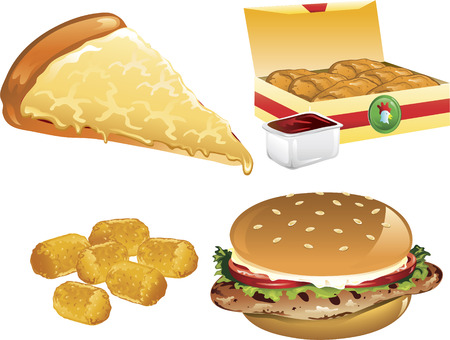 Illustration of a cheese pizza, tater tots, chicken nuggets, and a grilled chicken sandwich Stock Vector - 6829968