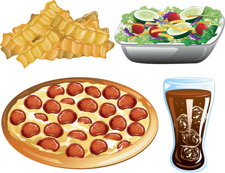 crinkle: Illustration of french fries, pepperoni pizza, cola and a side salad.