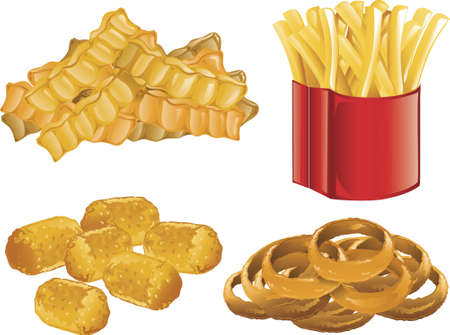 Illustration of french fries, onion rings, and tater tots.
