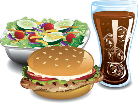 Illustration of a grilled chicken sandwich, side salad and cola