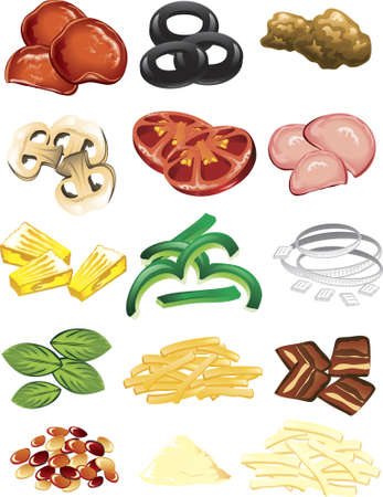 ground beef: Illustration of different pizza toppings and cheese. Illustration