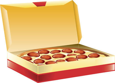 Illustration of a pepperoni pizza in a box.