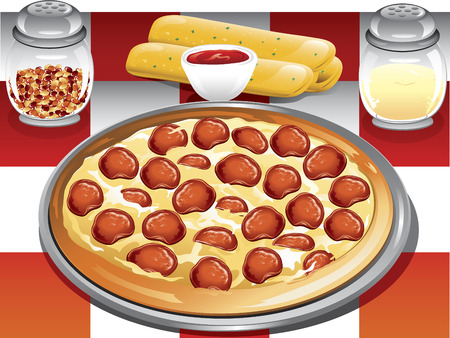 Illustration of a pepperoni pizza dinner with breadsticks, red pepper flakes and parmesean cheese. Illustration
