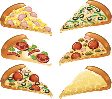 Illustration of six different style pizza slices. Illustration