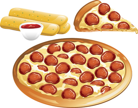Illustration of a pepperoni pizza and breadsticks with sauce. Illustration